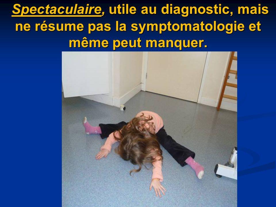 Spectaculaire, utile au diagnostic, mais ne résume pas la symptomatologie et même peut manquer.