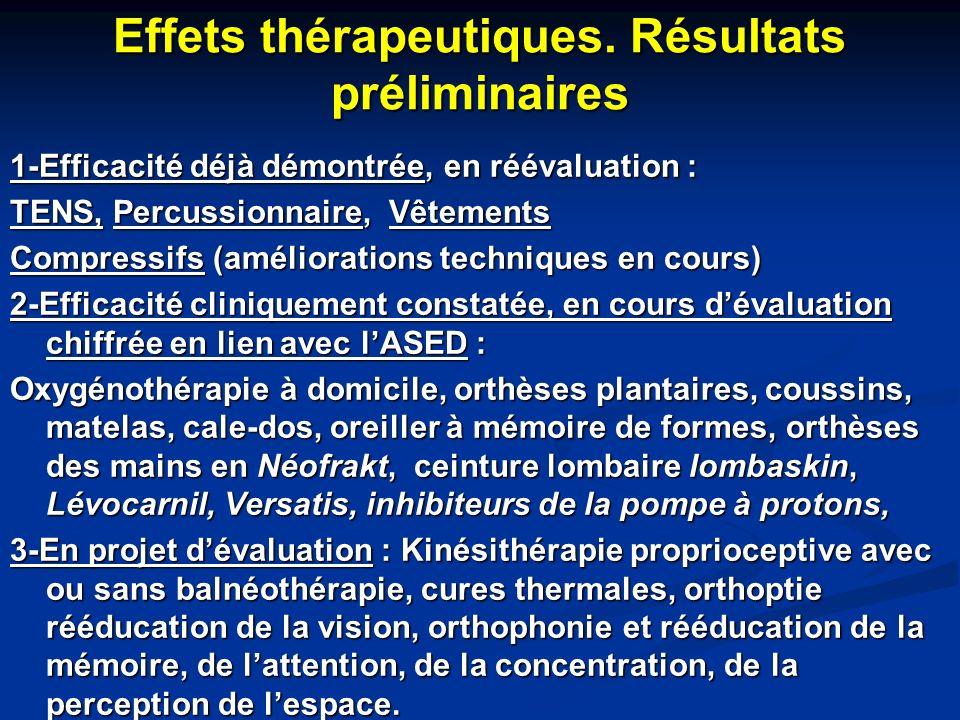 Effets thérapeutiques. Résultats préliminaires