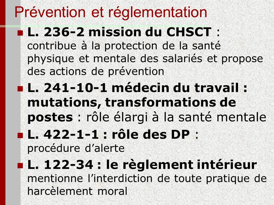 Prévention et réglementation