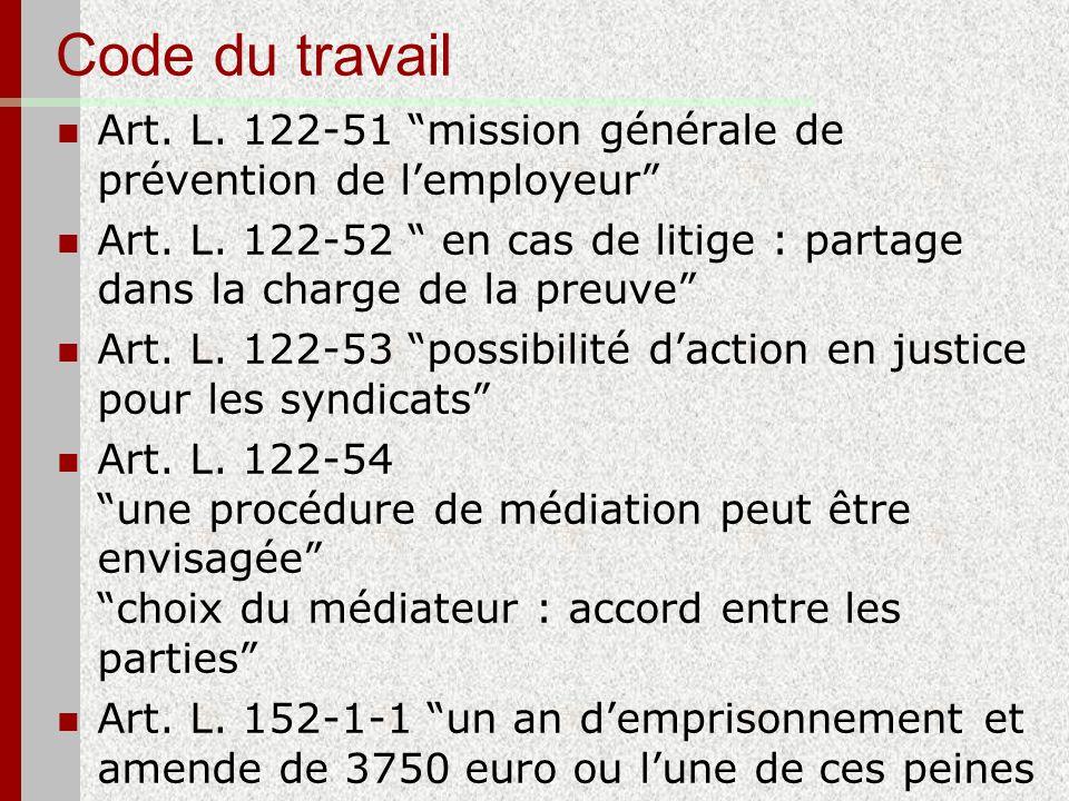Code du travail Art. L. 122-51 mission générale de prévention de l'employeur