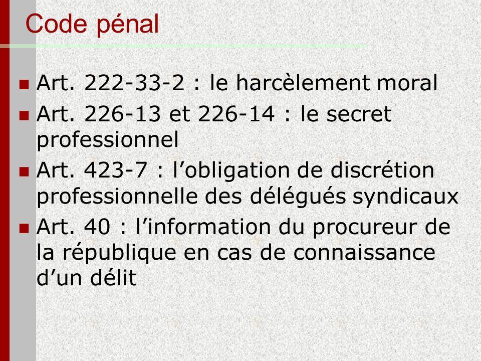 Code pénal Art. 222-33-2 : le harcèlement moral