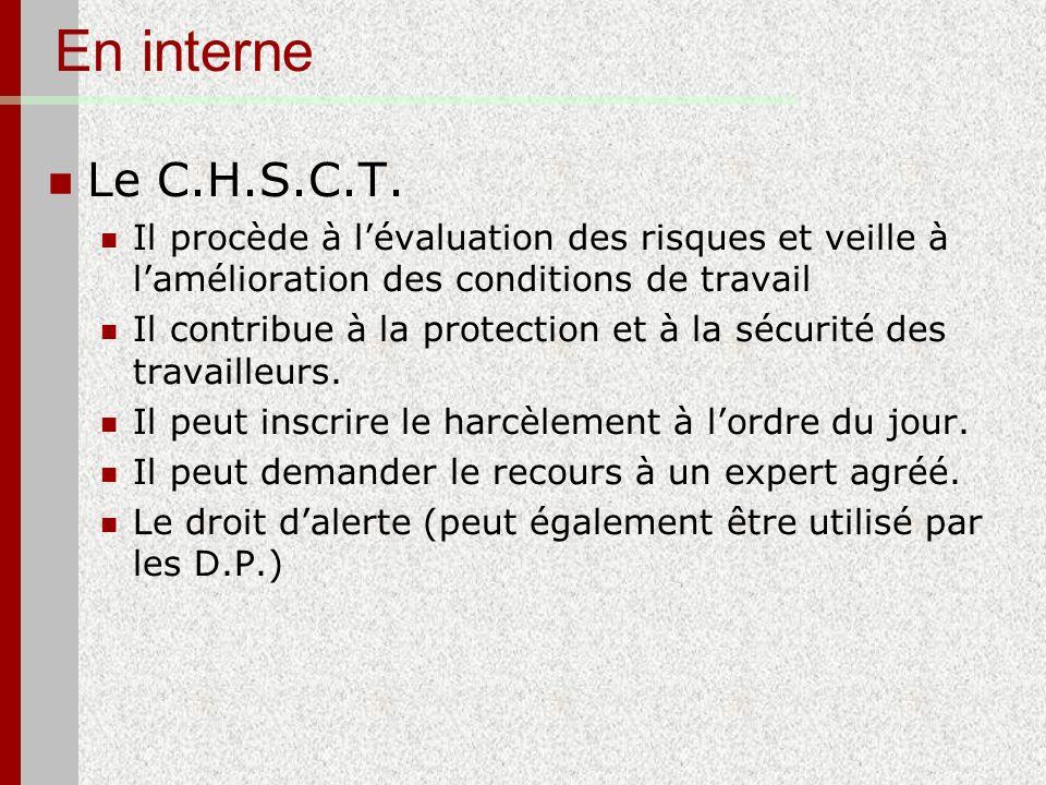 En interne Le C.H.S.C.T. Il procède à l'évaluation des risques et veille à l'amélioration des conditions de travail.