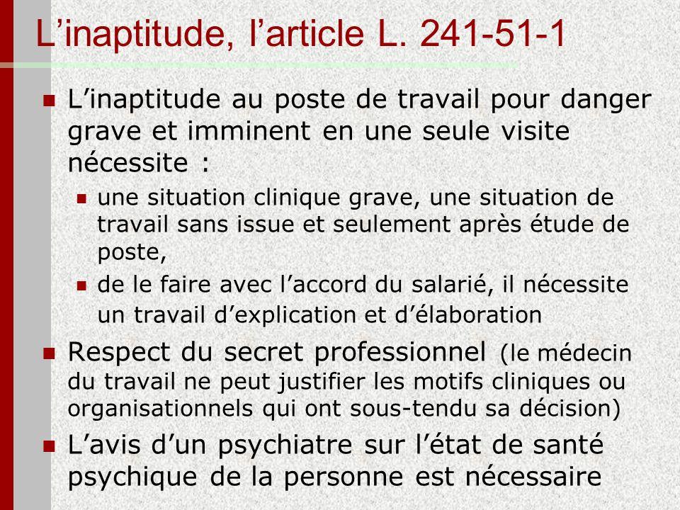 L'inaptitude, l'article L. 241-51-1