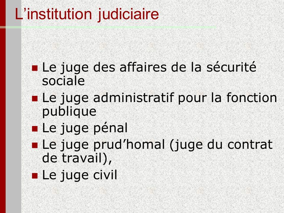 L'institution judiciaire