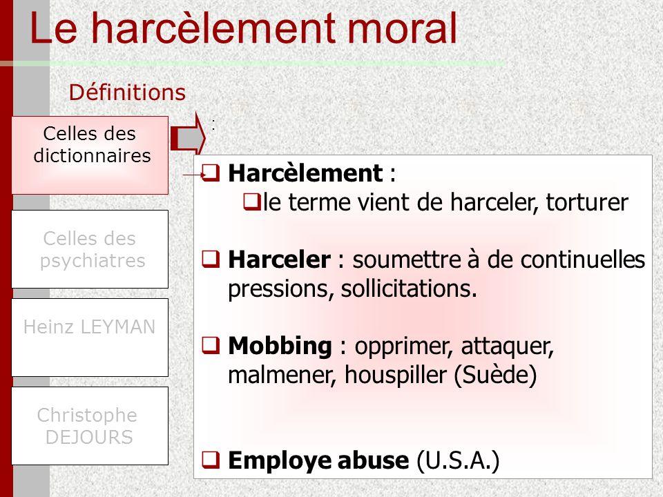 Le harcèlement moral Harcèlement :