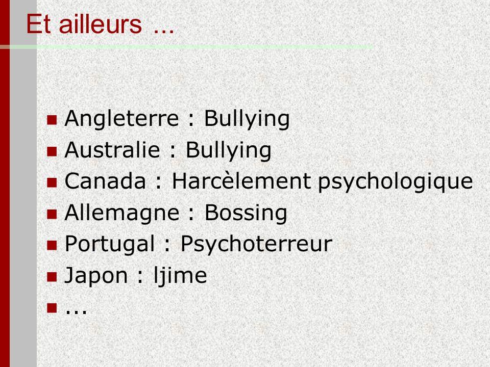 Et ailleurs ... Angleterre : Bullying Australie : Bullying