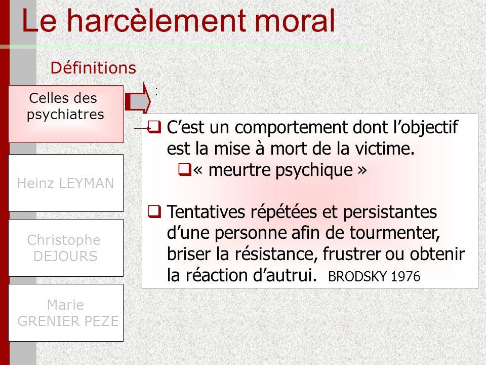 Le harcèlement moral Définitions. : Celles des. psychiatres. C'est un comportement dont l'objectif est la mise à mort de la victime.