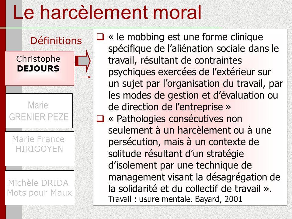 Le harcèlement moral Définitions