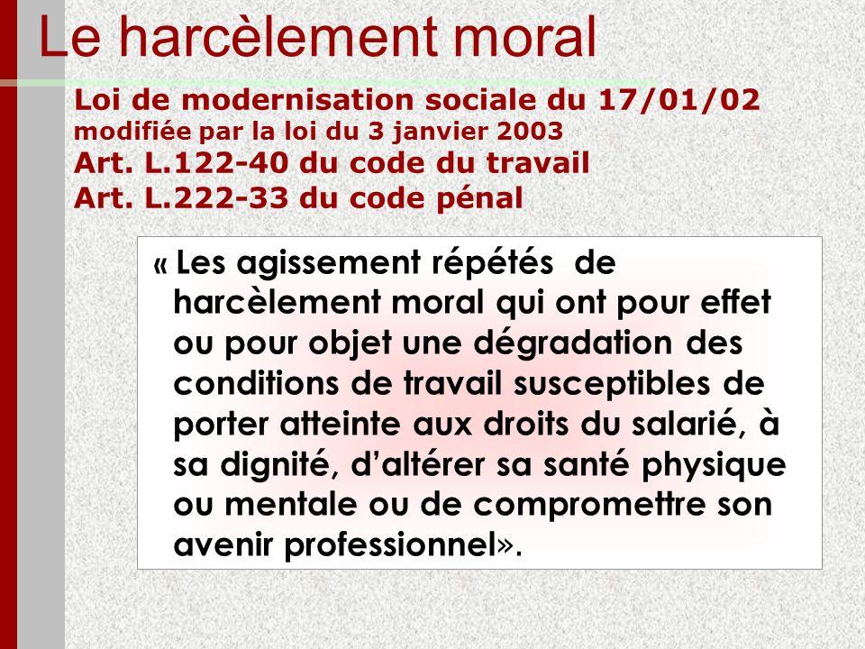 Le harcèlement moral Loi de modernisation sociale du 17/01/02