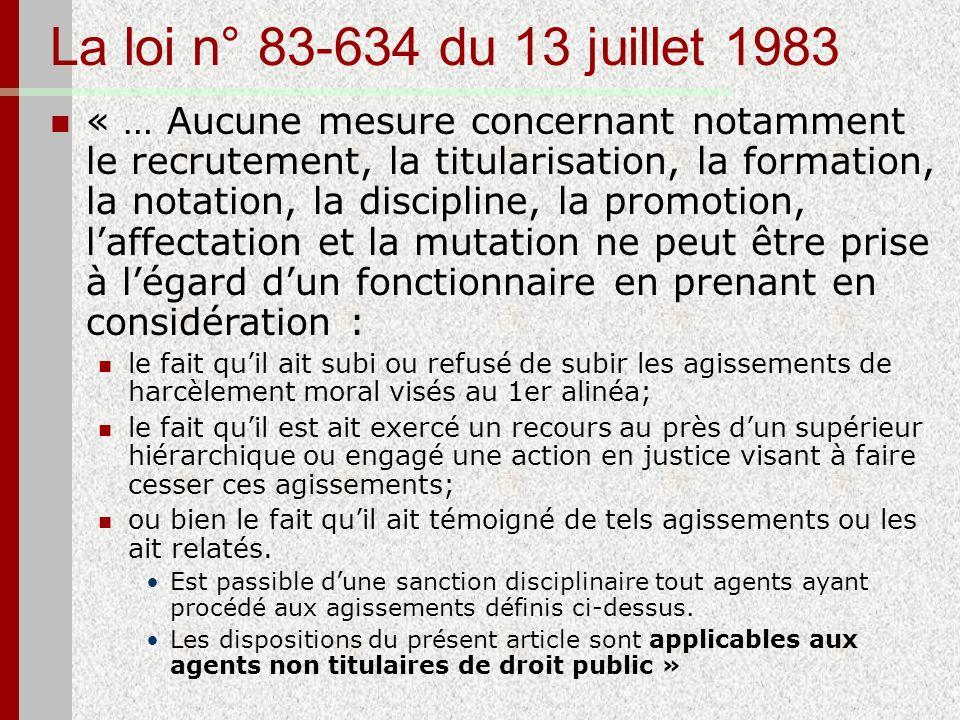 La loi n° 83-634 du 13 juillet 1983