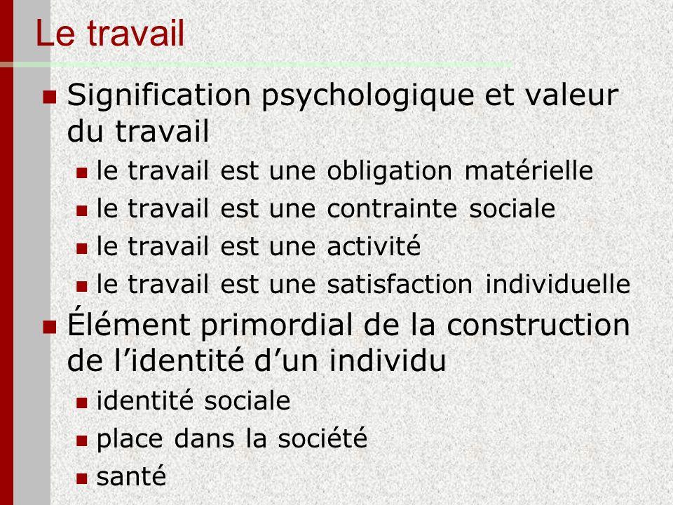 Le travail Signification psychologique et valeur du travail