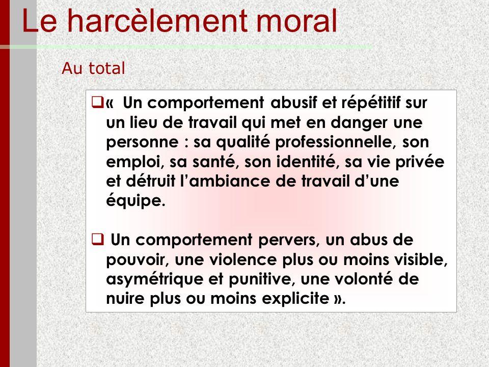 Le harcèlement moral Au total