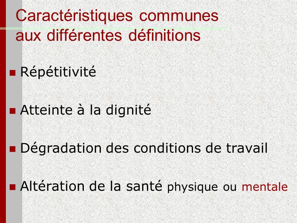 Caractéristiques communes aux différentes définitions