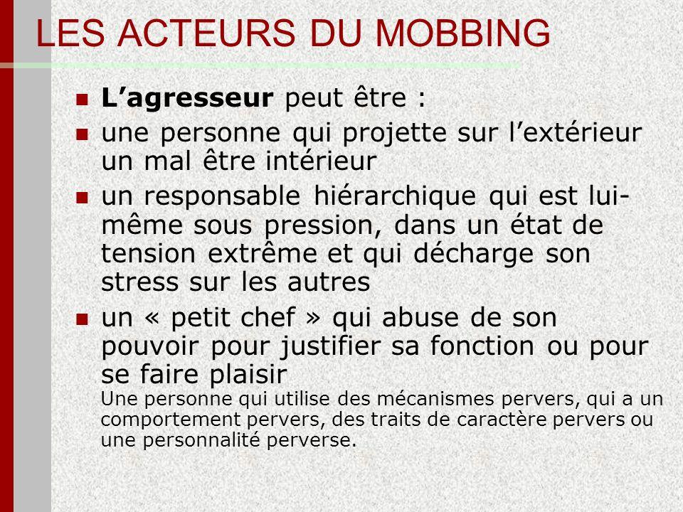 LES ACTEURS DU MOBBING L'agresseur peut être :