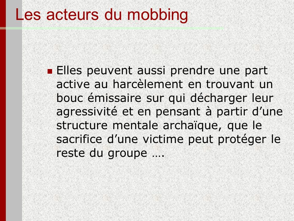 Les acteurs du mobbing