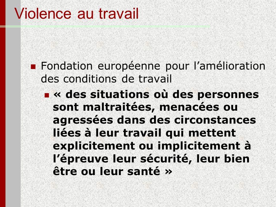 Violence au travail Fondation européenne pour l'amélioration des conditions de travail.