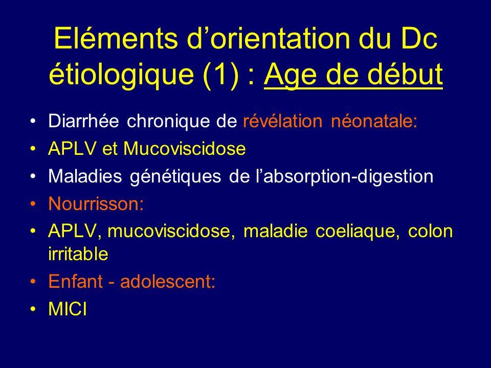Eléments d'orientation du Dc étiologique (1) : Age de début