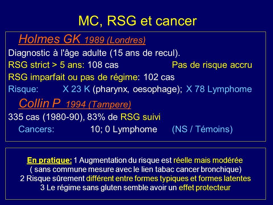 MC, RSG et cancer Holmes GK 1989 (Londres)