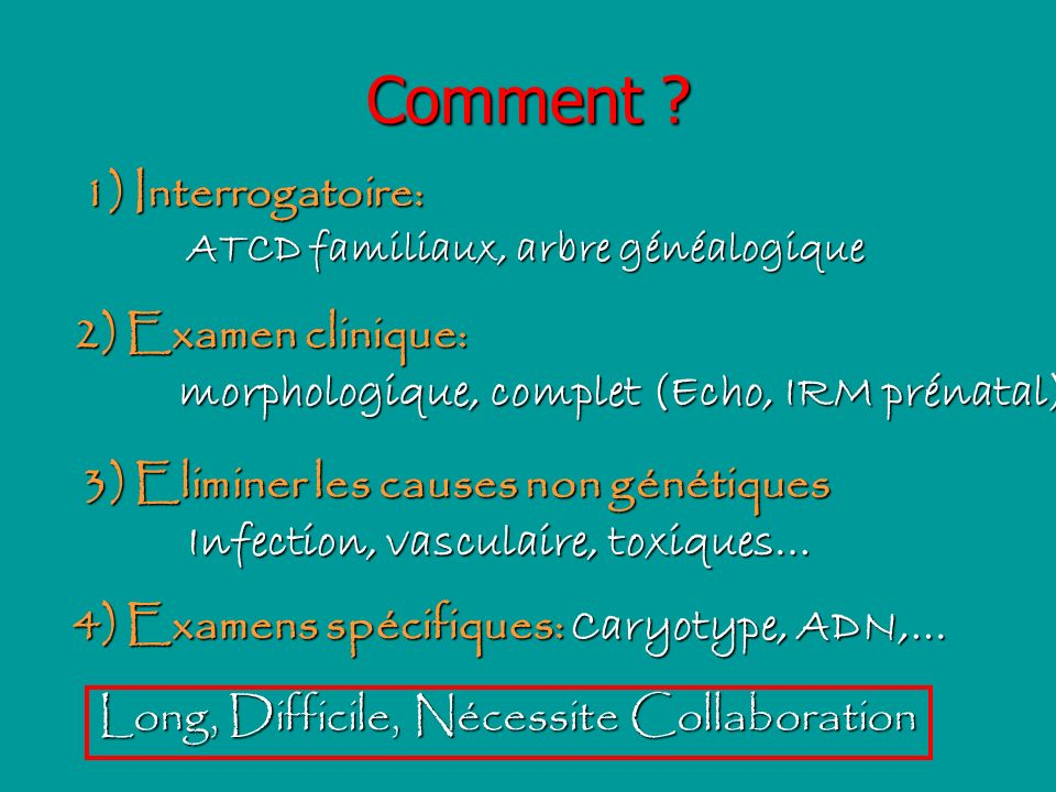 Comment Interrogatoire: 2) Examen clinique:
