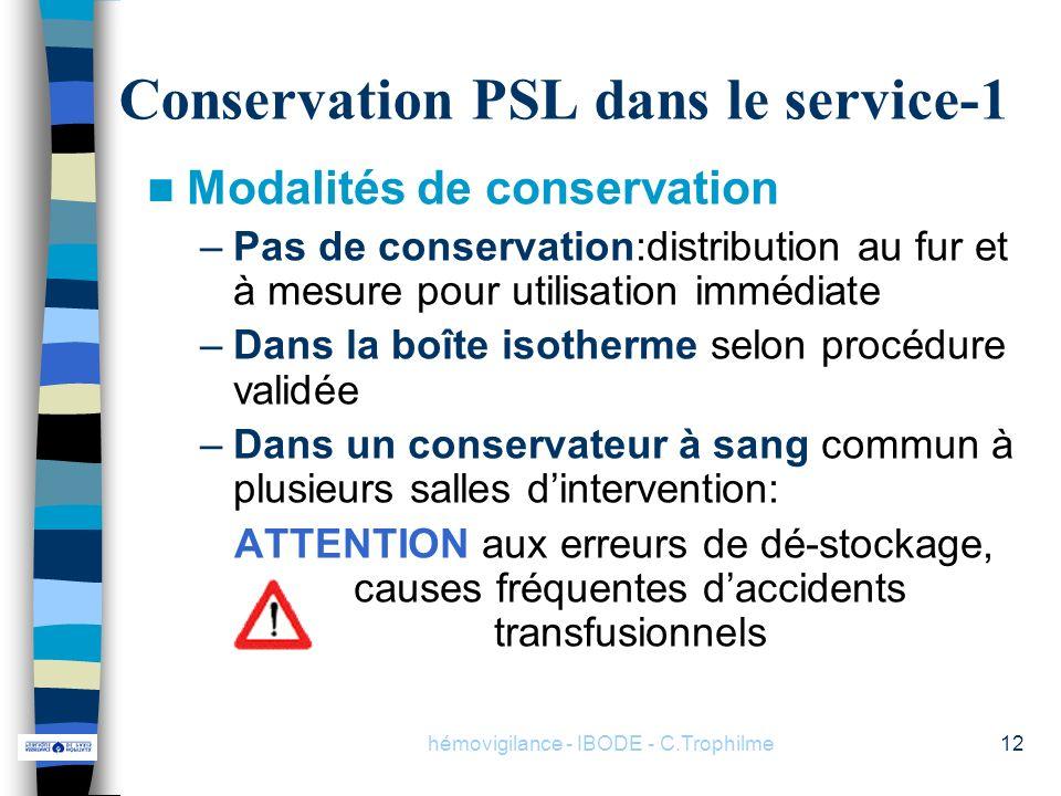 Conservation PSL dans le service-1