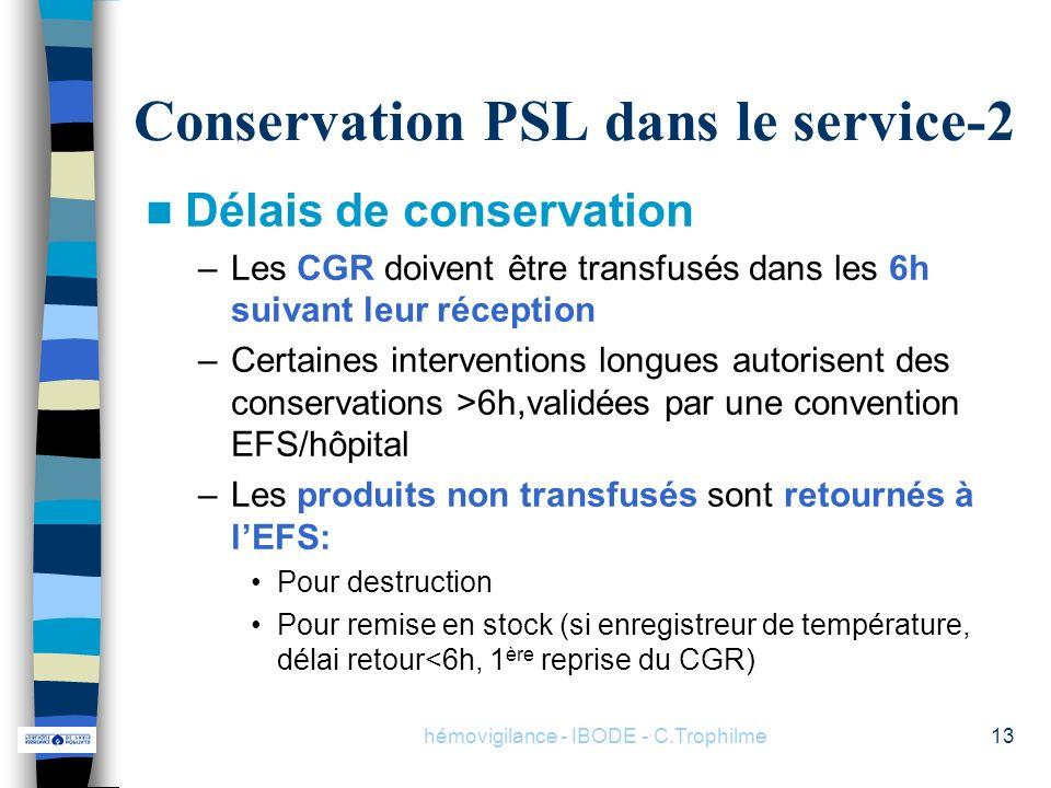 Conservation PSL dans le service-2