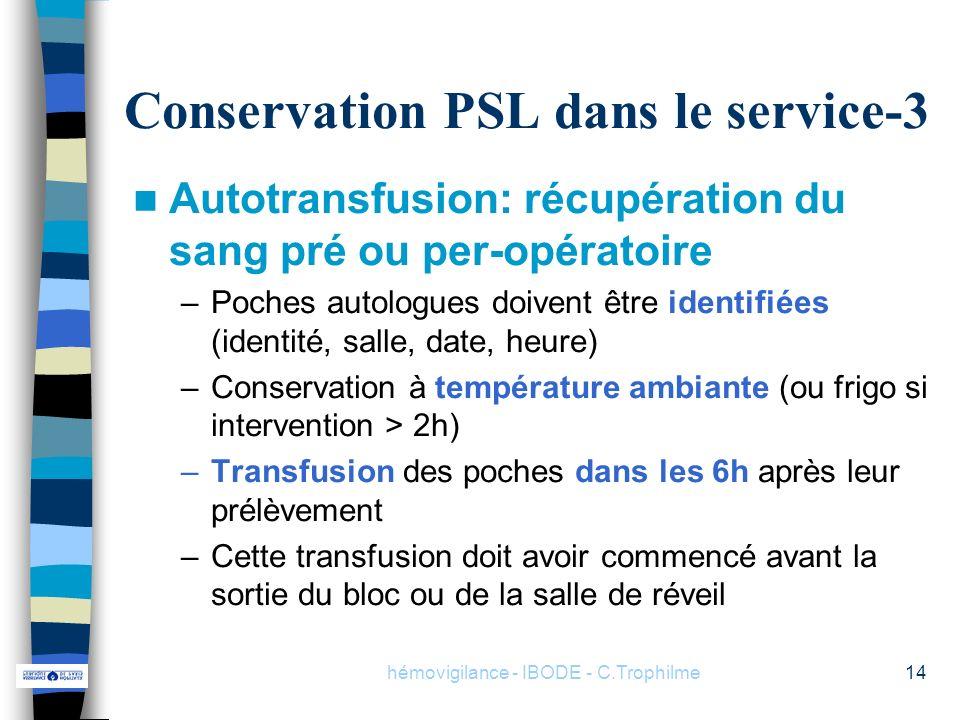 Conservation PSL dans le service-3