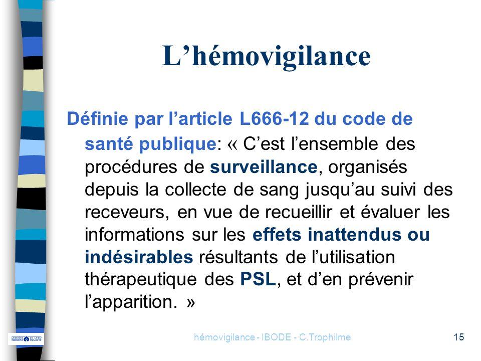 hémovigilance - IBODE - C.Trophilme