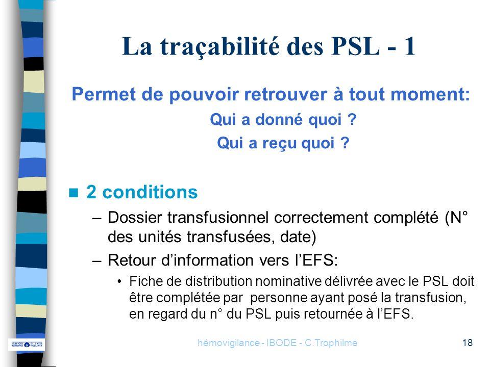 La traçabilité des PSL - 1