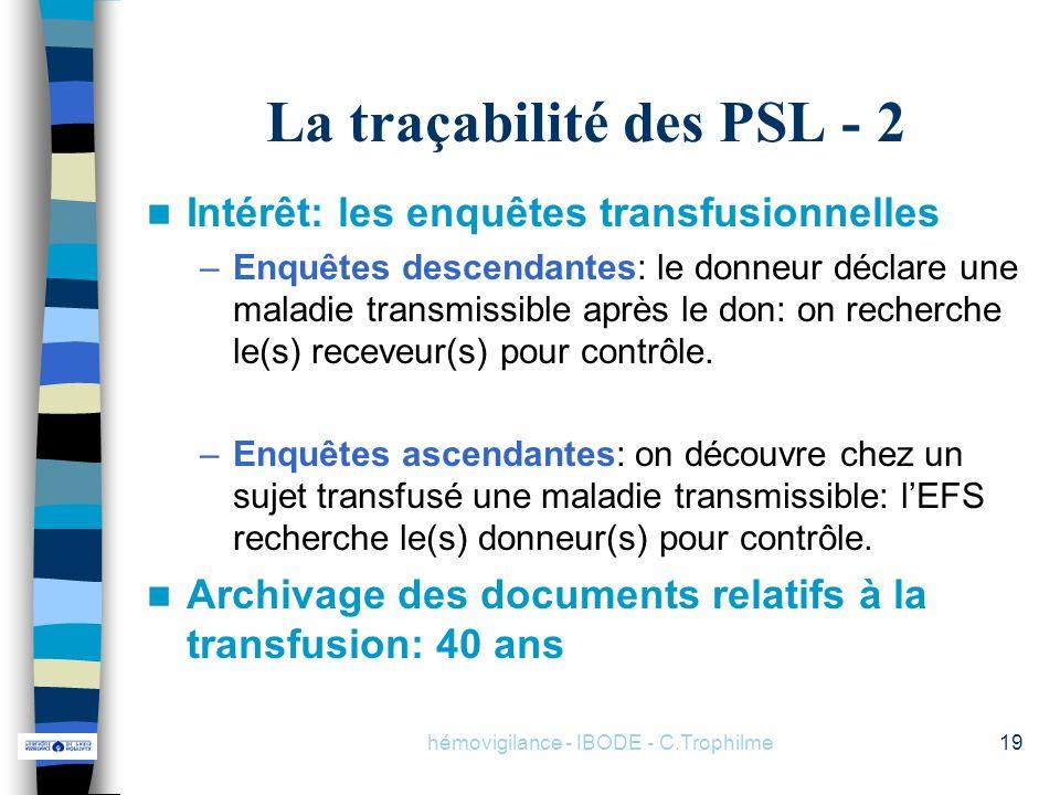 La traçabilité des PSL - 2