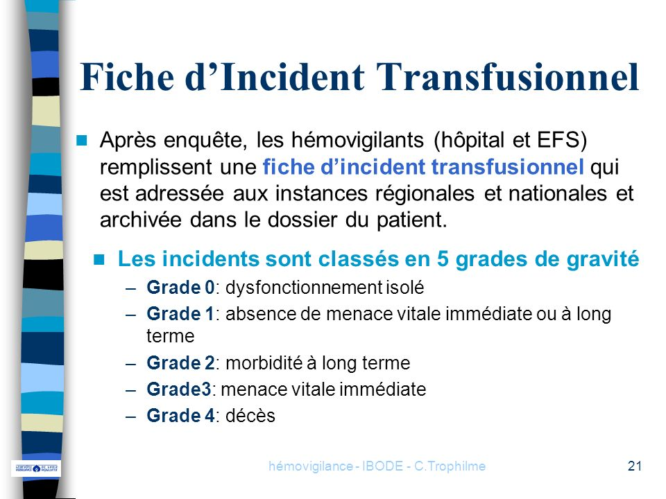 Fiche d'Incident Transfusionnel