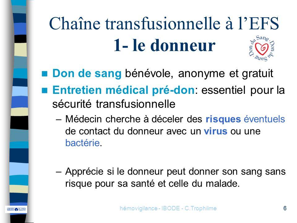 Chaîne transfusionnelle à l'EFS 1- le donneur