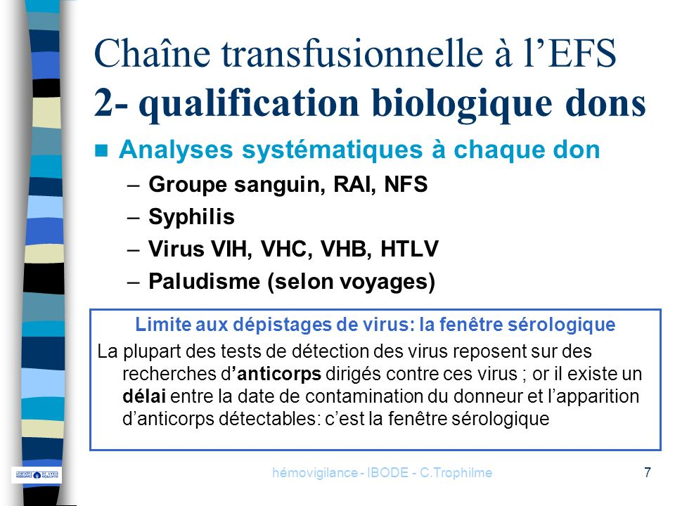 Chaîne transfusionnelle à l'EFS 2- qualification biologique dons