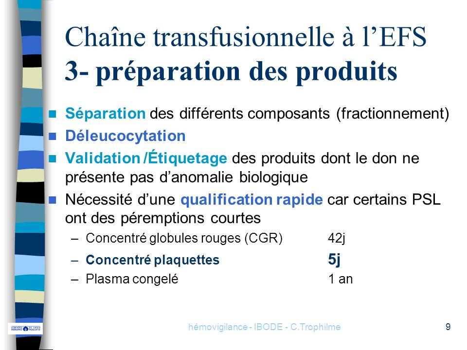 Chaîne transfusionnelle à l'EFS 3- préparation des produits