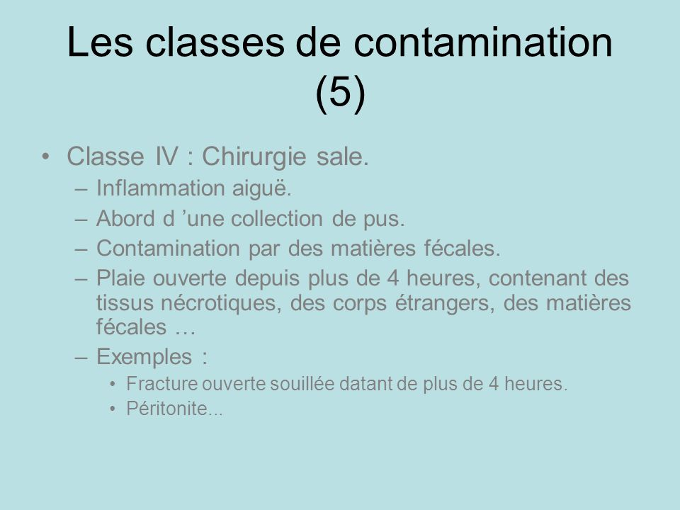 Les classes de contamination (5)