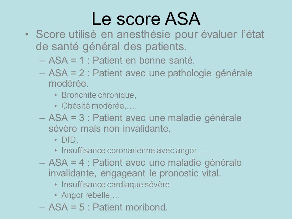Le score ASA Score utilisé en anesthésie pour évaluer l'état de santé général des patients. ASA = 1 : Patient en bonne santé.