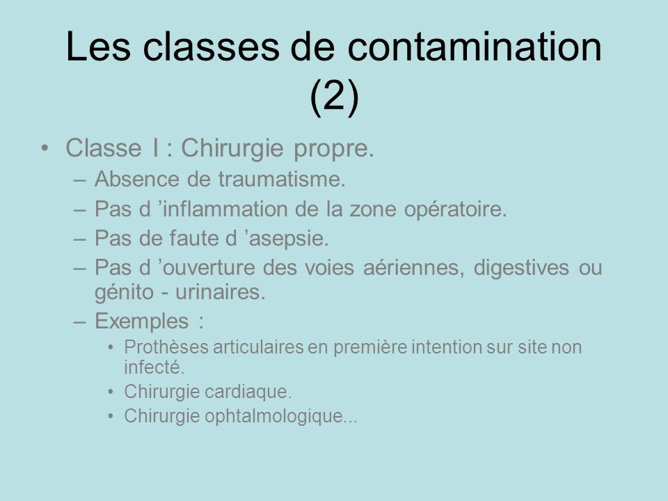 Les classes de contamination (2)