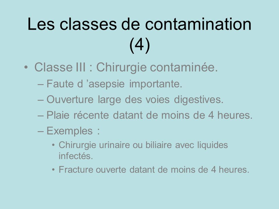 Les classes de contamination (4)