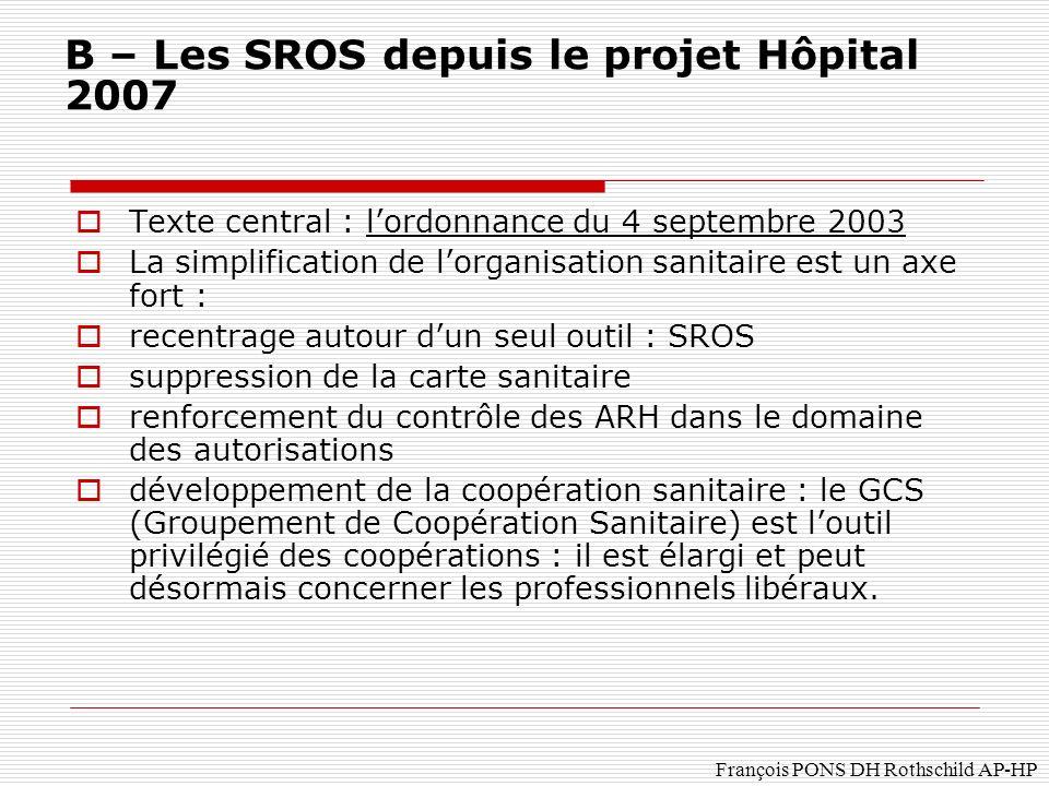 B – Les SROS depuis le projet Hôpital 2007