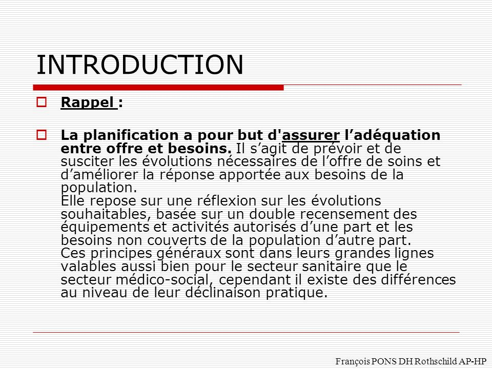 INTRODUCTION Rappel :