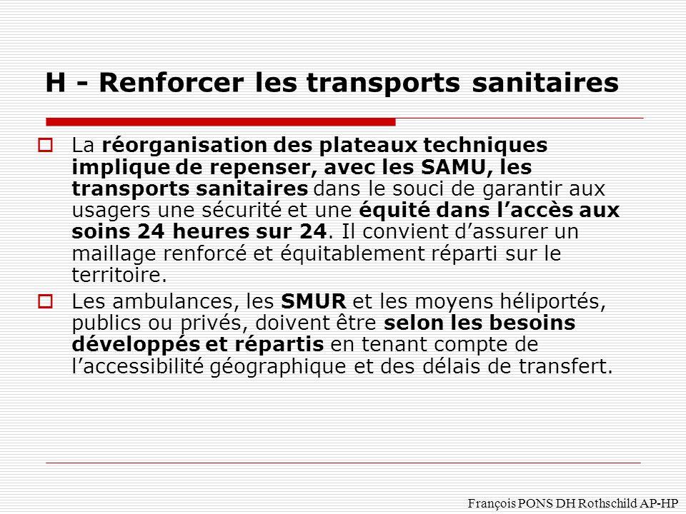 H - Renforcer les transports sanitaires