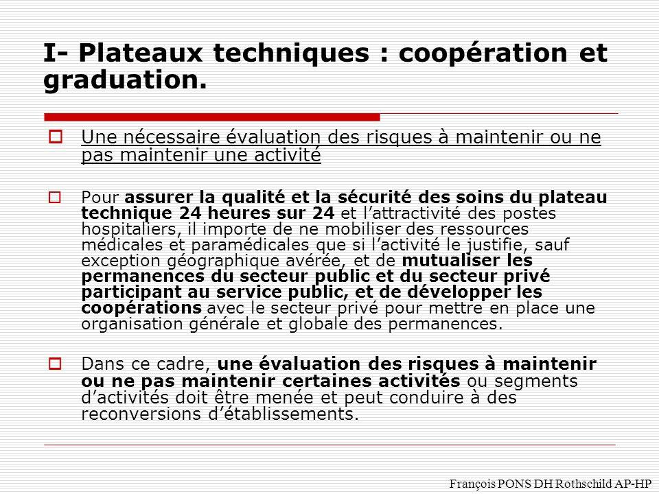 I- Plateaux techniques : coopération et graduation.