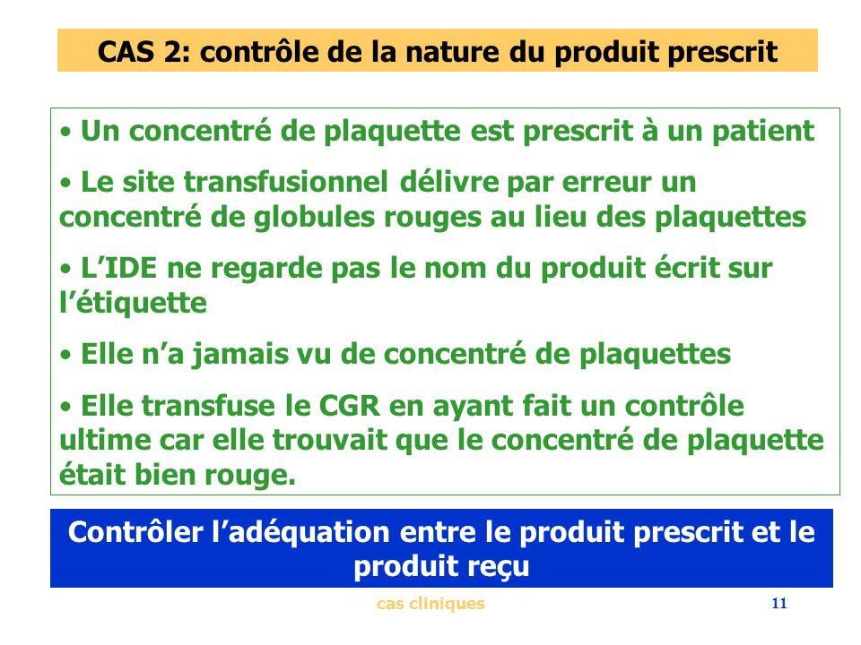 CAS 2: contrôle de la nature du produit prescrit