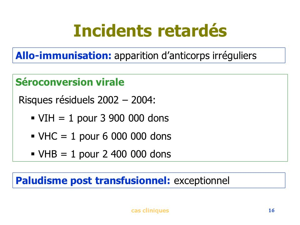 Incidents retardés Allo-immunisation: apparition d'anticorps irréguliers. Séroconversion virale. Risques résiduels 2002 – 2004: