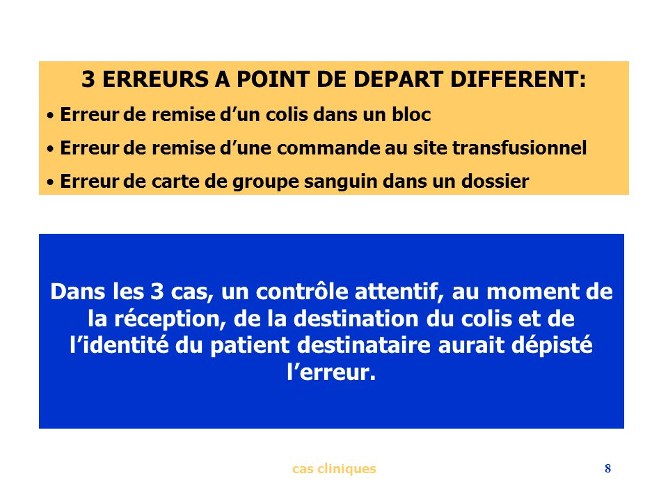 3 ERREURS A POINT DE DEPART DIFFERENT: