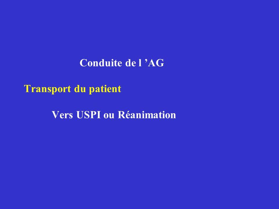Conduite de l 'AG Transport du patient Vers USPI ou Réanimation