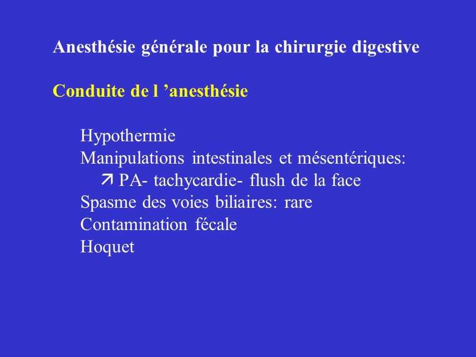 Anesthésie générale pour la chirurgie digestive Conduite de l 'anesthésie Hypothermie Manipulations intestinales et mésentériques:  PA- tachycardie- flush de la face Spasme des voies biliaires: rare Contamination fécale Hoquet