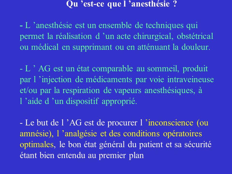 Qu 'est-ce que l 'anesthésie