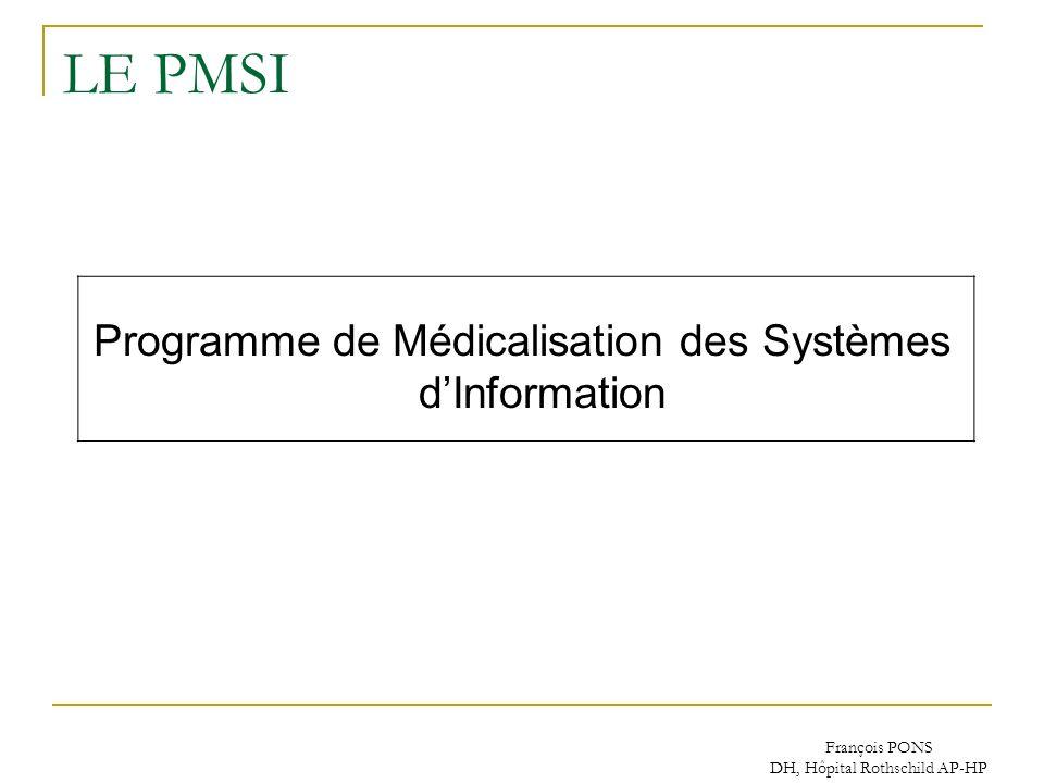 LE PMSI Programme de Médicalisation des Systèmes d'Information