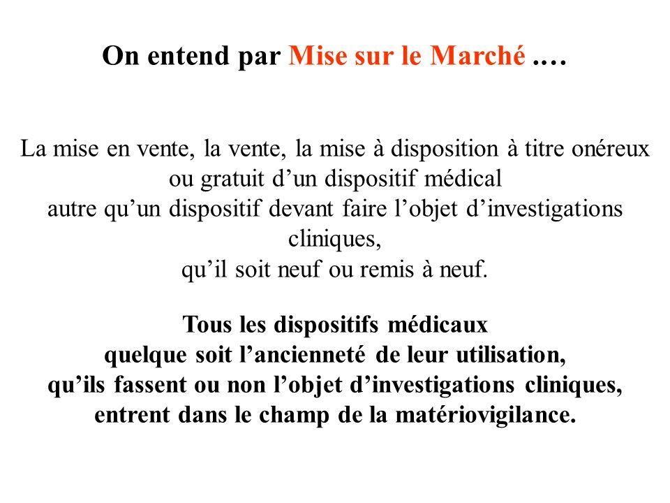 On entend par Mise sur le Marché .…