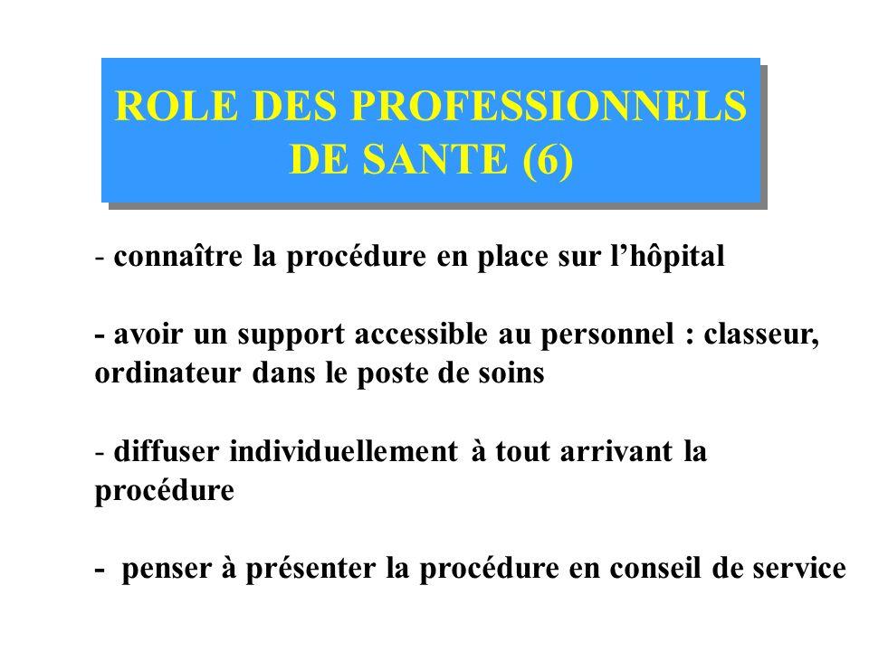 ROLE DES PROFESSIONNELS DE SANTE (6)